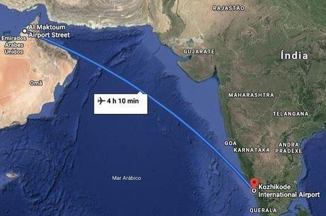 Aeronave partiu de Dubai com destino a Calicute